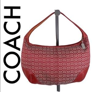 COACH LARGE RED LEATHER AND FABRIC HOBO BAG